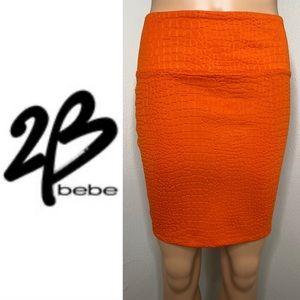 2B BEBE Vibrant Alligator Pattern Pencil Skirt XS